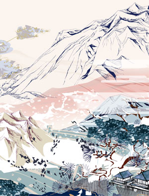 Art Inspiration Animation Print Pastel Coloured Mountain Landscape