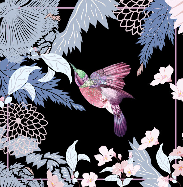 Meng-Loungewear-luxury-printed-silk-art-oriental-flowers-birds-watercolour-black-pinkbird-TT.jpg