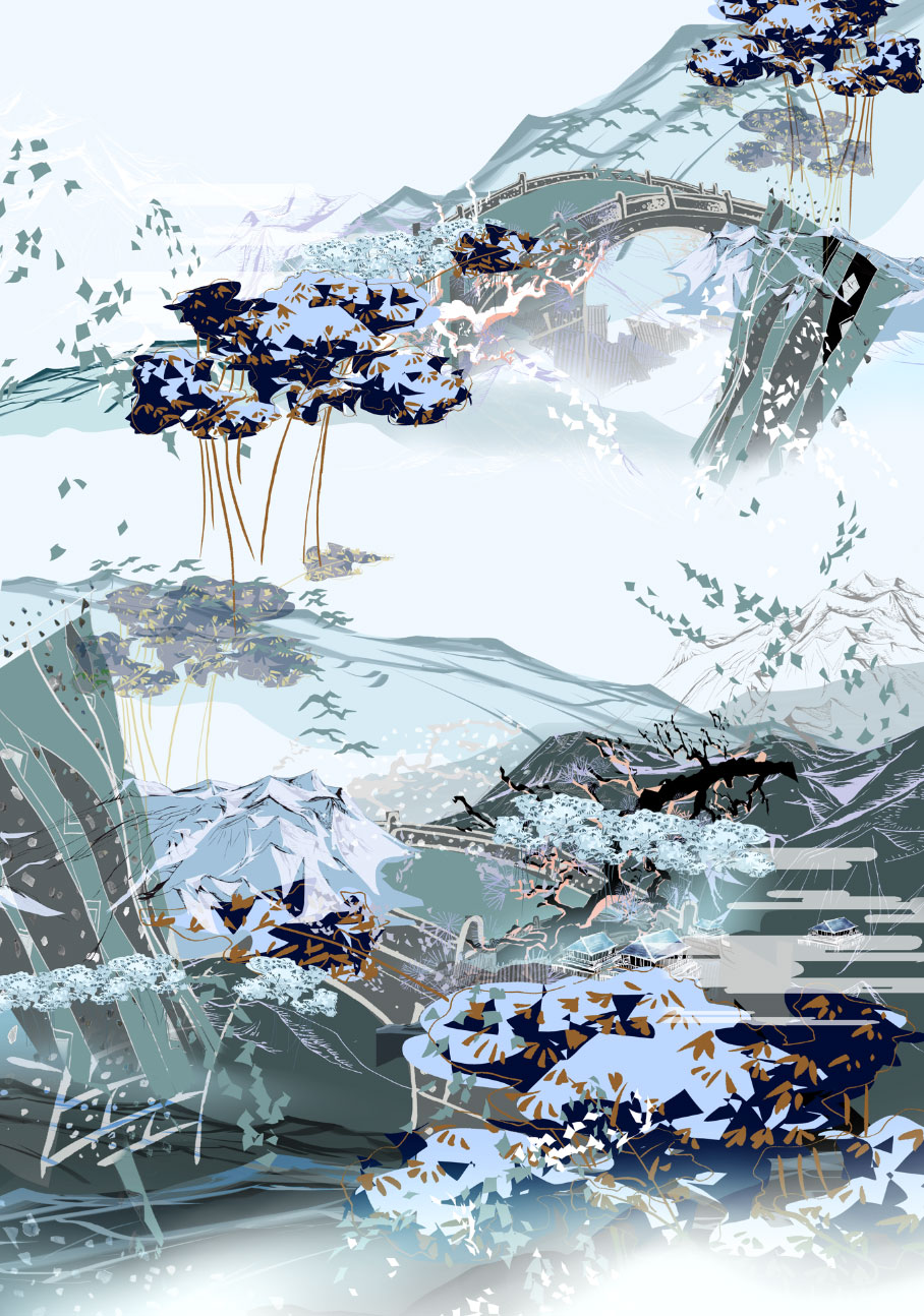 Art Inspiration Animation Print Dark and Blue Mountainous Landscape