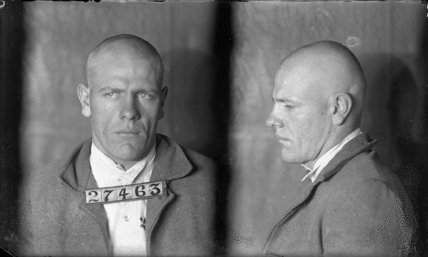 Arthur Defenbaugh, inmate #27463 photographed in 1924.  Courtesy Missouri State Archives
