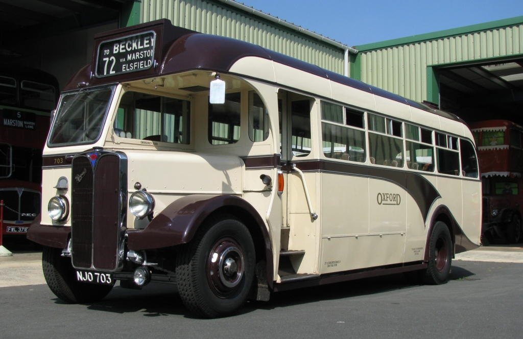The first vehicle in the Oxford Bus Museum collection was this  1949 AEC Regall III, with Willowbrook bodywork (registration NJO 703).