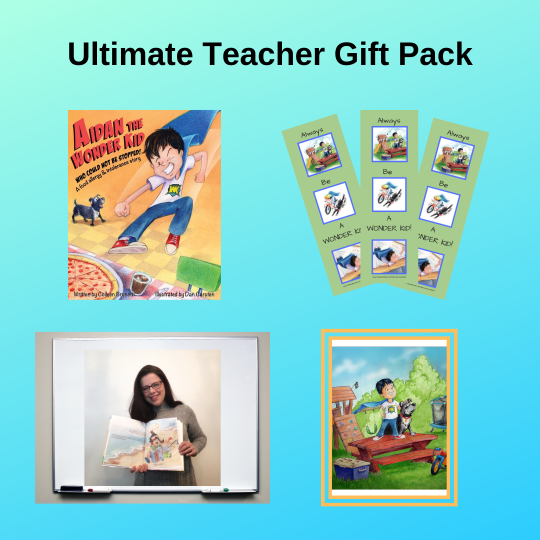 ULTIMATE TEACHER GIFT PACK    Make a teacher's day! Purchase this $75 ultimate gift pack and receive:    * Two autographed books ($31.98 value)  * 25 bookmarks for the class ($10.00 value)  * An author Skype visit ($75 value)  * Framed print of original artwork from the book - a perfect classroom decoration. ($50 value)   A total value of $166.98 - Yours to gift a teacher for just $75!  (SAVINGS: $91.98)