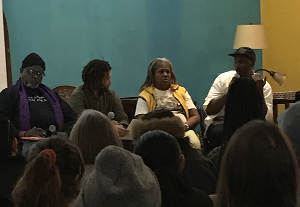 Çaca Yvaire speaking on a panel at Land in Black Hands. L-R: Ed Whitfield, Co-Managing Director of the Fund for Democratic Communities; Çaca; Karen Washington, founder of Rise & Root Farm; and Jalal Sabur of Wildseed.