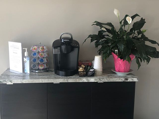 Coffee station in the waiting room! ⠀⠀⠀⠀⠀⠀⠀⠀⠀ If you're ever here waiting for an appointment, early or wanting a coffee after your appointment help yourself to our Keurig and selection of coffee!