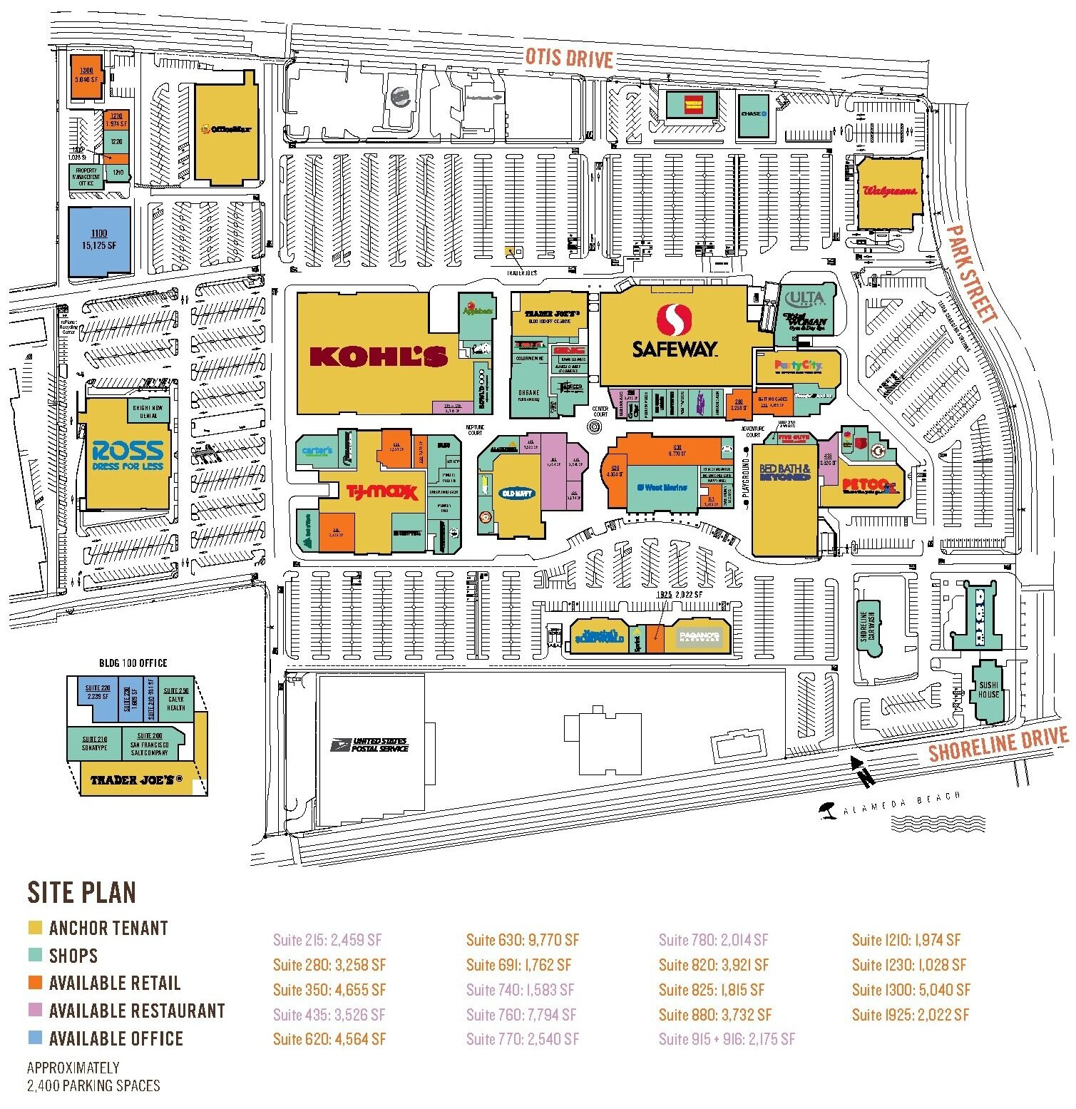 Alameda South Shore Center site plan showing anchor tenants, shops, available retail, available restaurant, and available office spaces on the map with a key indicating square footage of available retail and restaurant spaces.