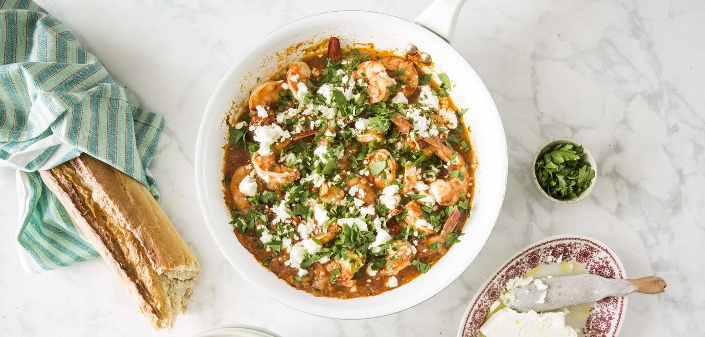 prawn, tomato, feta stew