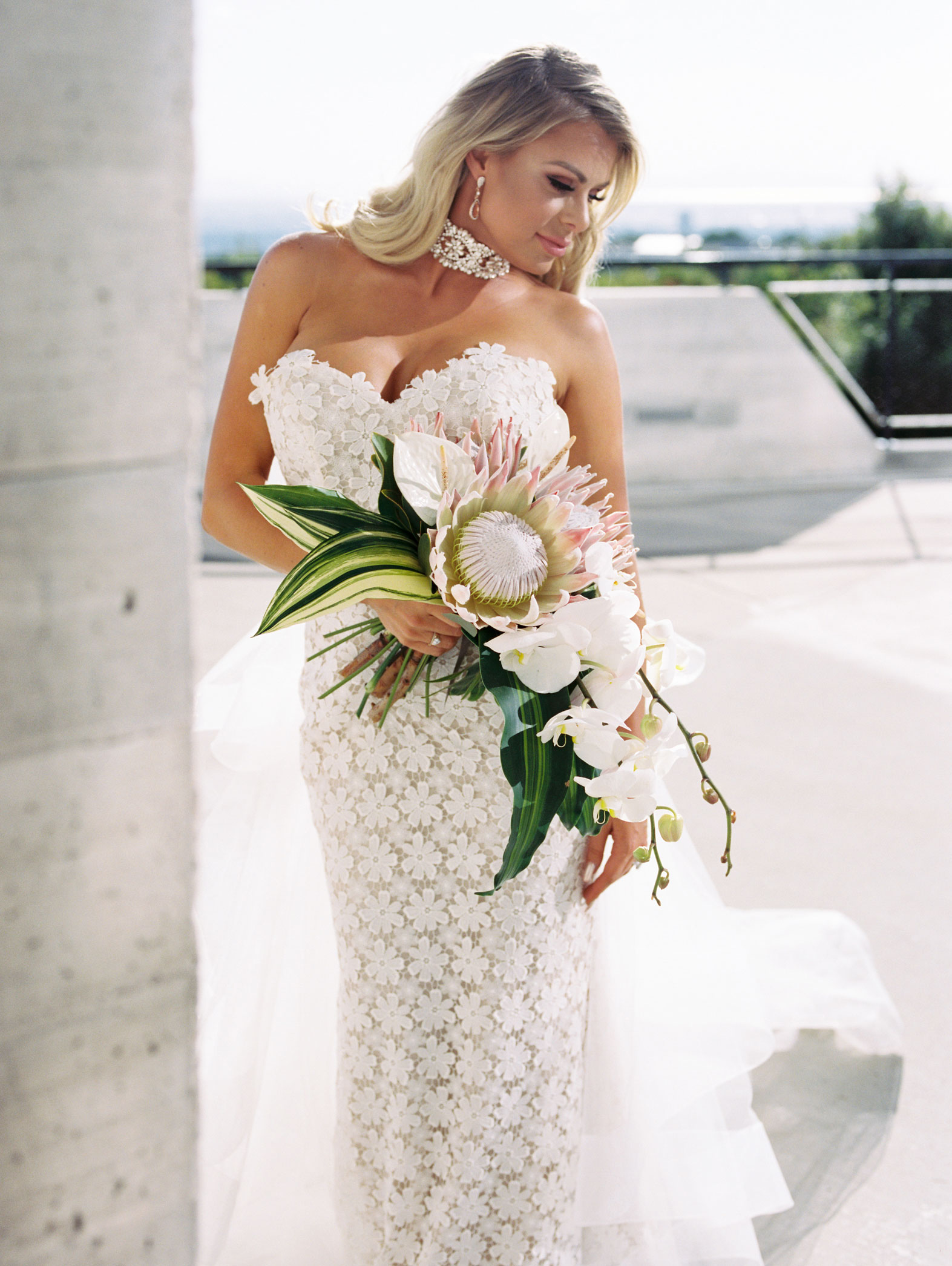 Five Penny Florist Custom Bridal Bouquet White and Green Tropical