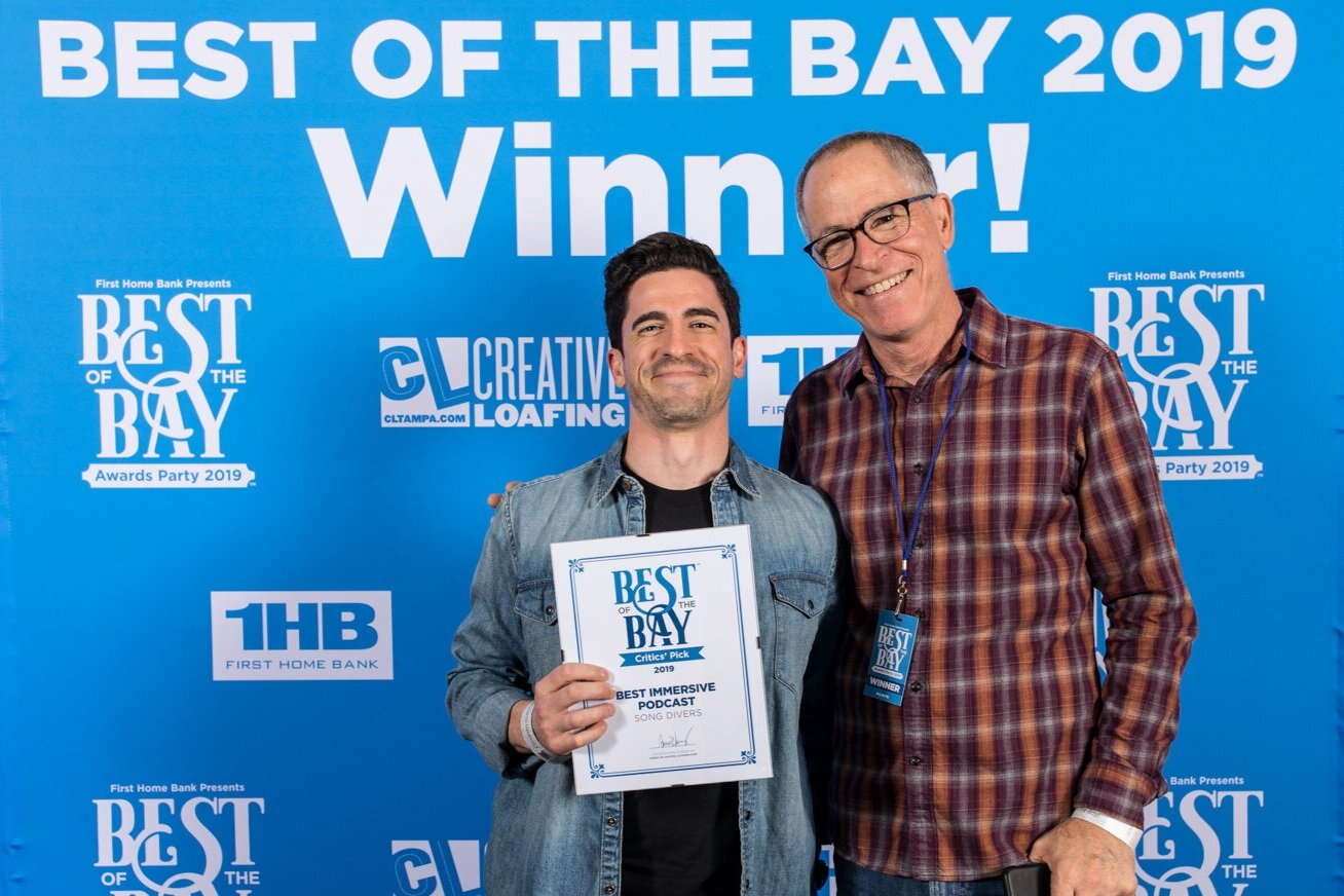 Stef & Ed pose for the cameras while accepting Best Immersive Podcast Award.