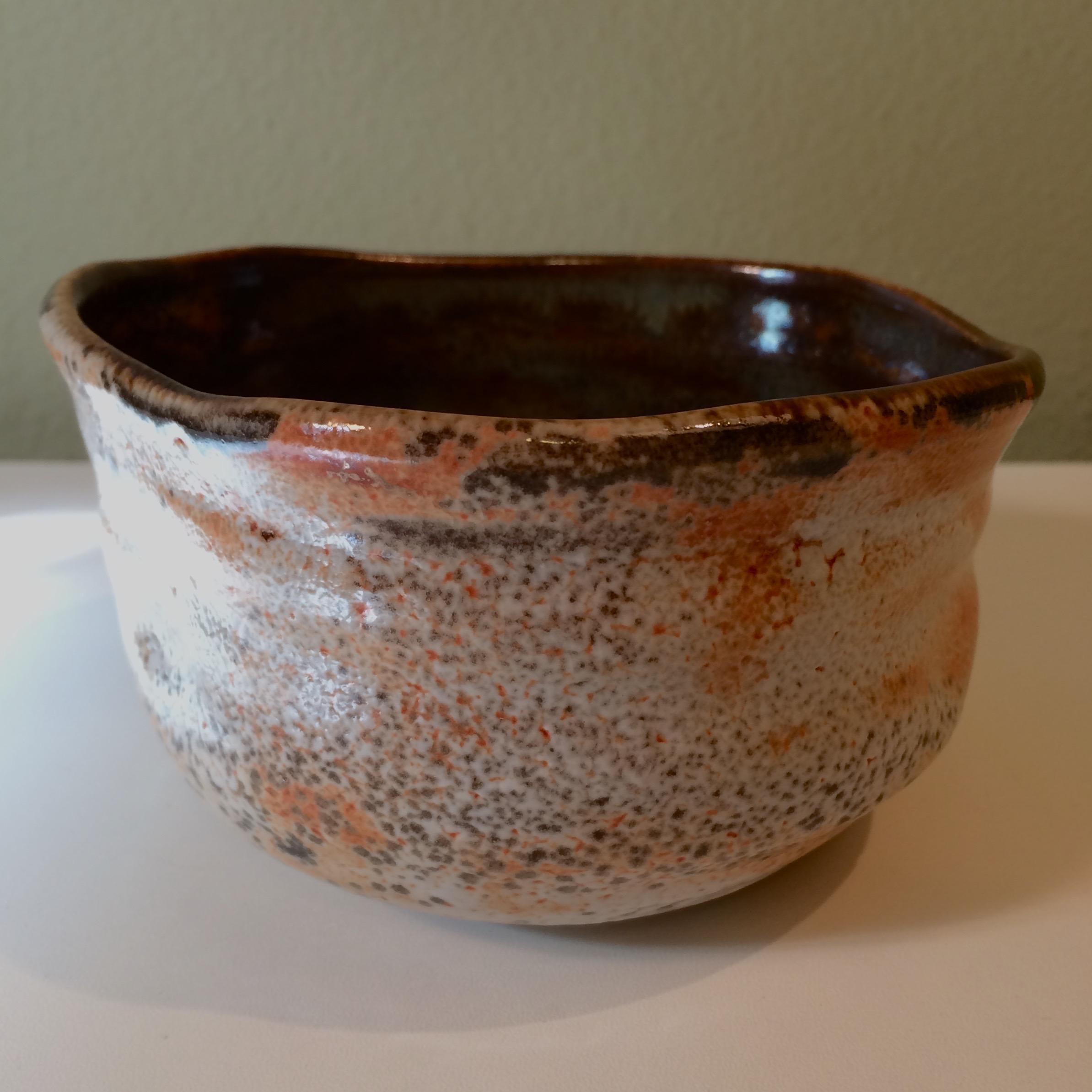 Chawan, tea bowl - American Shino glaze on high fire stoneware