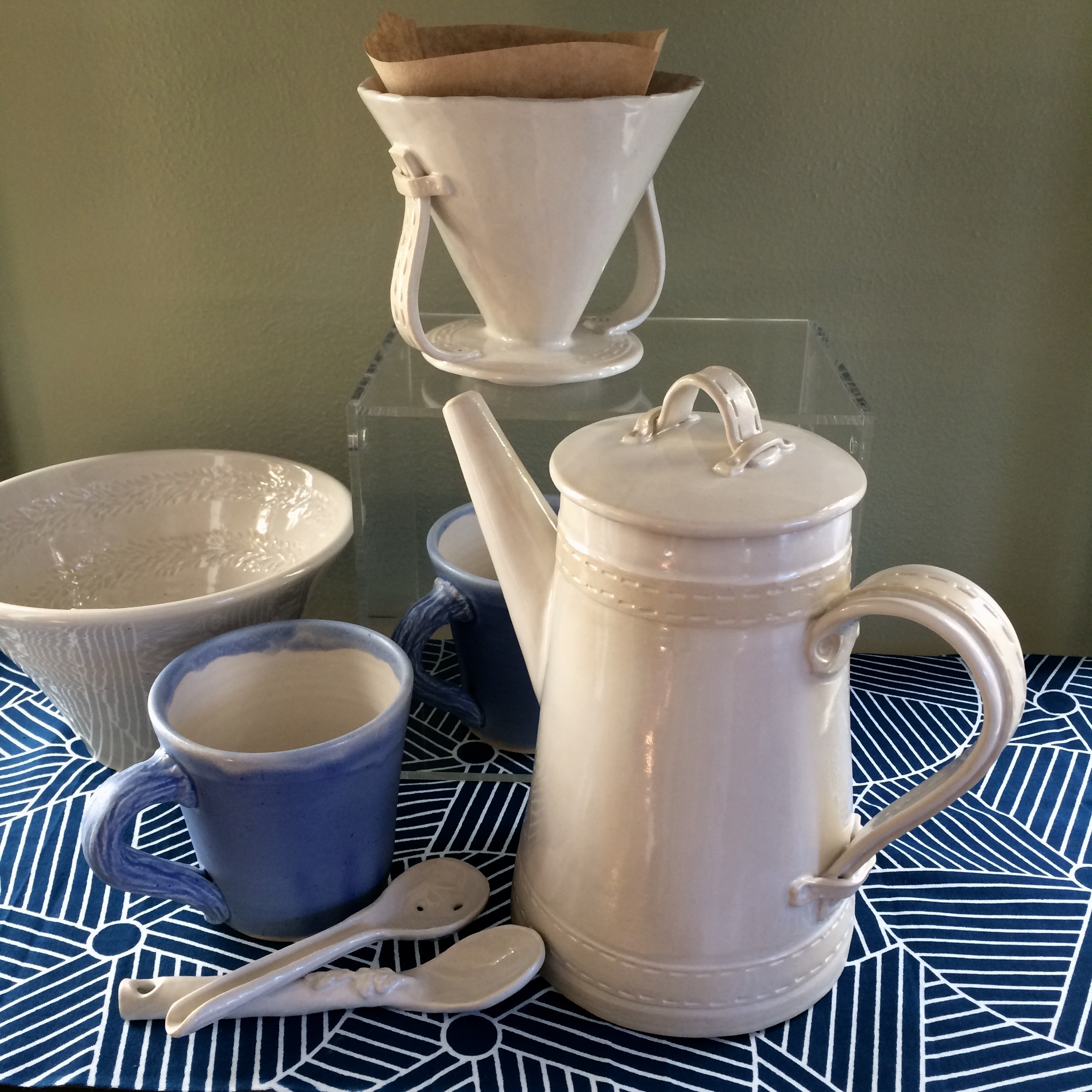 pour-over coffee pot - Hand built and wheel thrown mid-range stoneware
