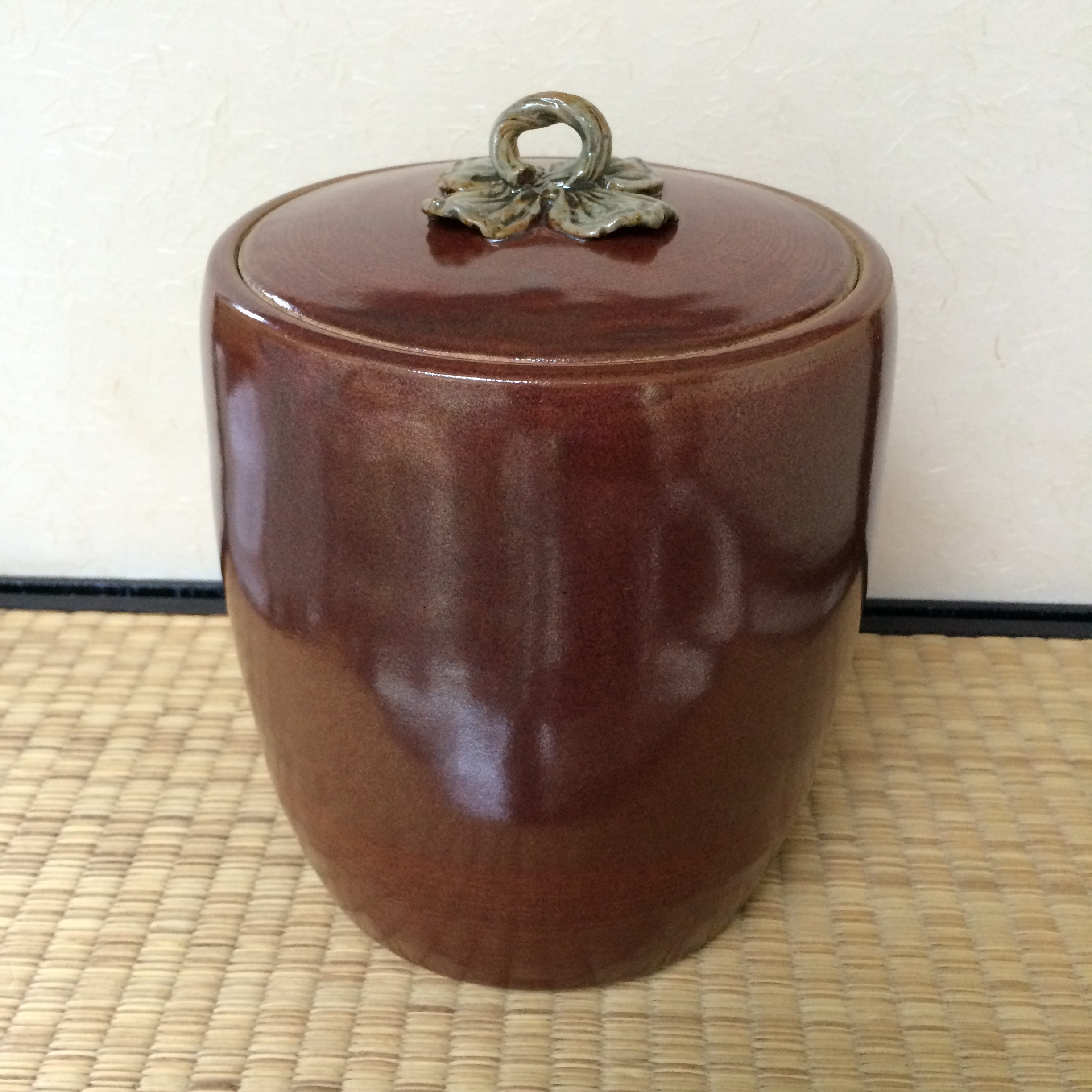 Mizusashi, water jar for Japanese tea ceremony - high fire stoneware