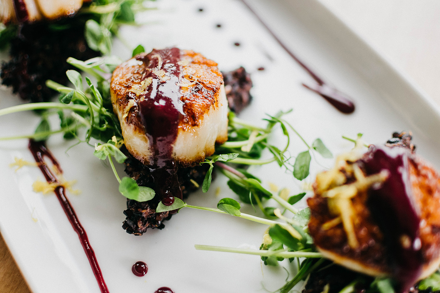 Cast Iron Scallops and Micro Greens