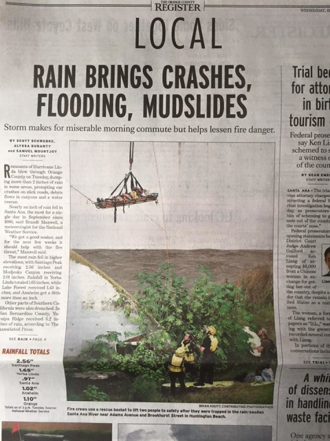 Water rescue photo published in the OC Register