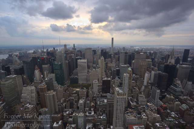 New York Skyline city manhattan buildings clouds aerial