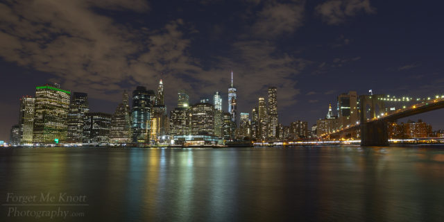 Manhattan Via Brooklyn new york city ridge,river reflection night