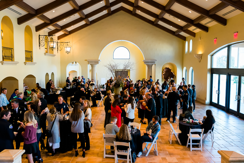 Friends and family enjoyed a reception before the ceremony that was hosted by many food vendors  including, Wahoo's, Ruby's and Farrell's.