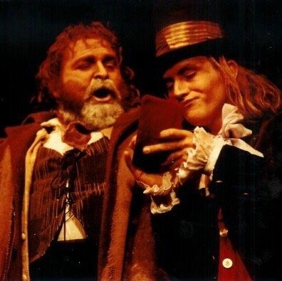 Stu and our friend, Chris, in  Oliver!  at Red Deer College circa 1992