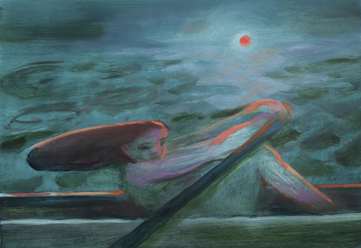Katelyn Alain   Study for The Ship was False   2018  Oil on Yupo paper  Signed, titled, and dated by the artist,  verso   5 x 7 inches