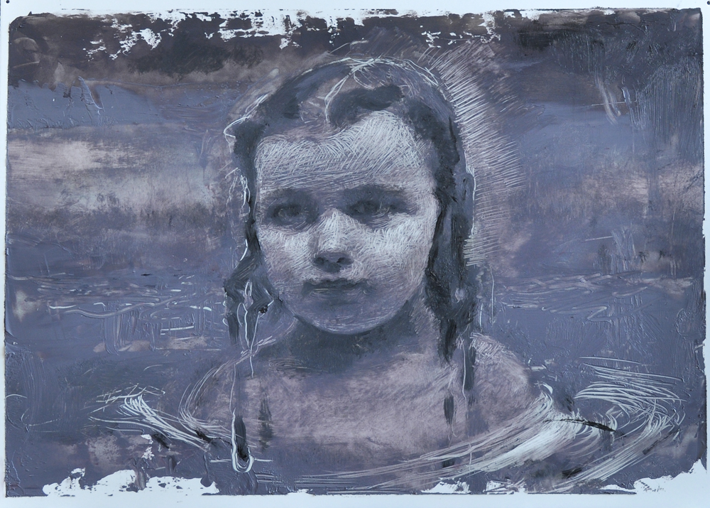 Katelyn Alain   She was Etched in the Water   2019  Oil on polypropylene  Signed, titled, and dated by the artist,  verso   5 x 7 inches