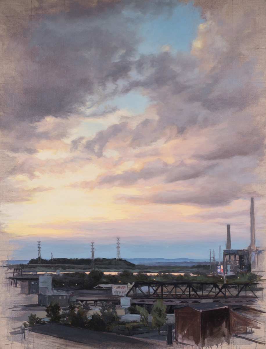 J. Krause Chapeau   Pennsylvania Dusk   2012  Oil on canvas  Signed by the artist,  verso   24 x 36 inches