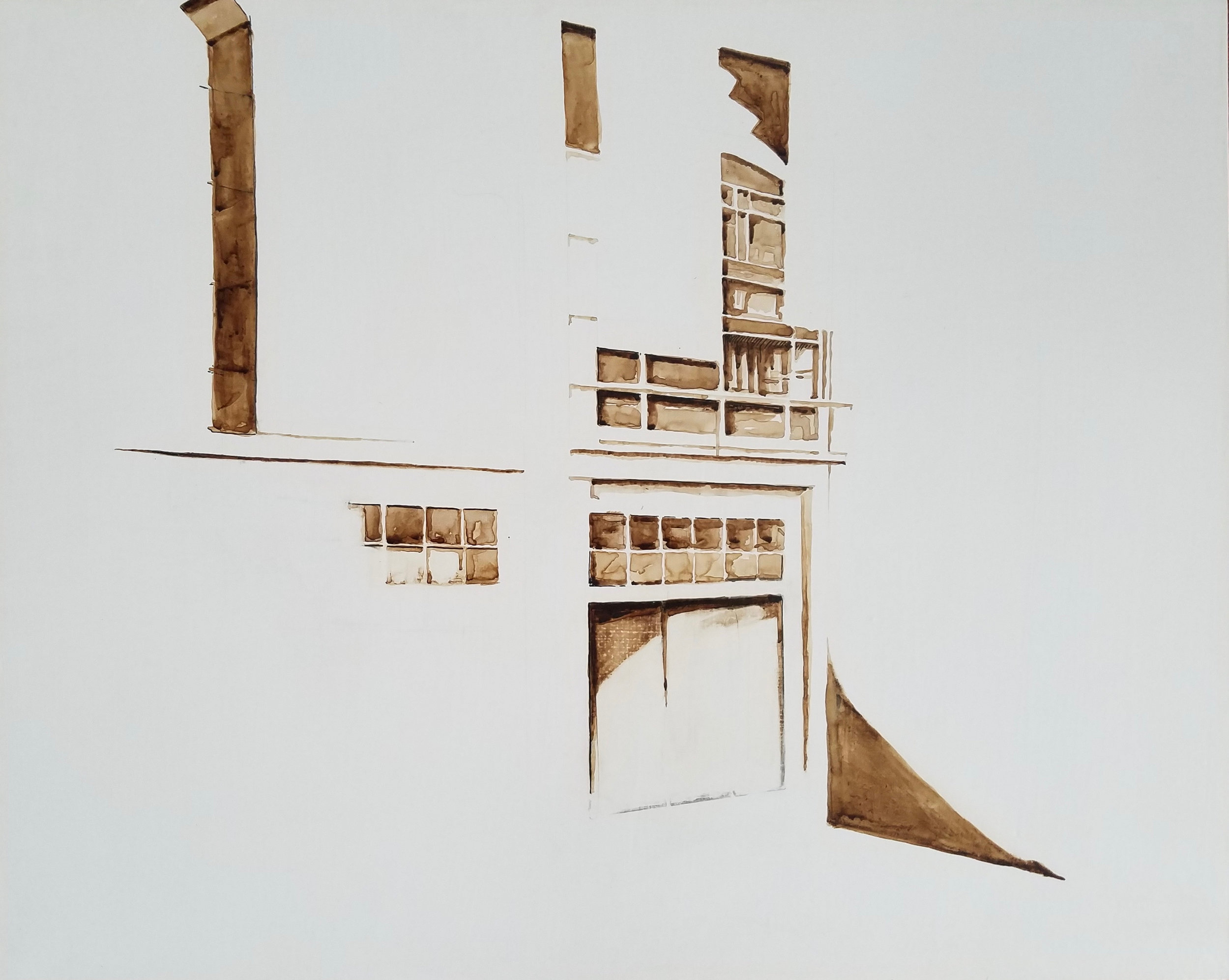 Margaret Noel   Façade II,  2017  Copperpoint and walnut ink on gessoed panel  Signed by the artist,  verso   16 x 20 inches
