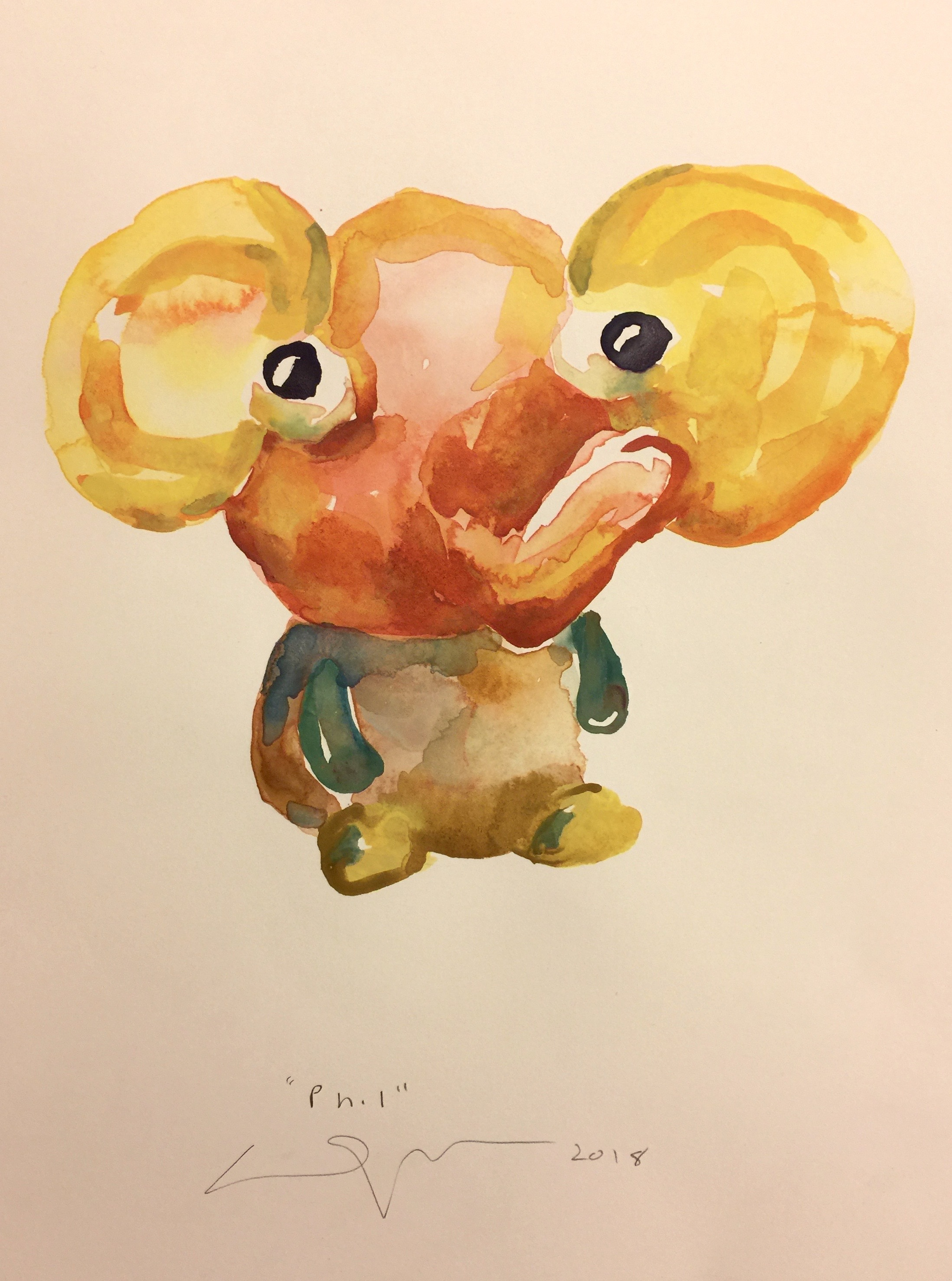Peter Opheim   Pepe   2018  Watercolor on paper  Signed, titled, and dated by the artist in pencil  Sheet: 16 x 12 inches  Framed: 17 x 13 inches