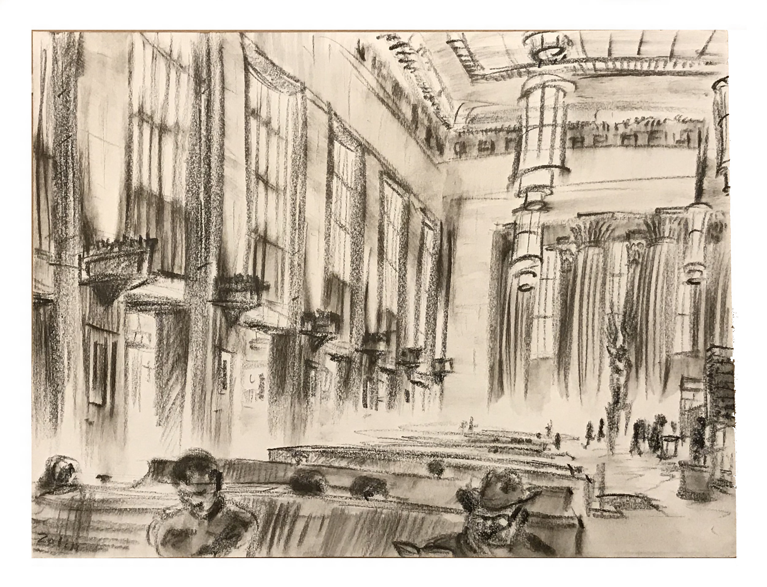 Steve Zolin   30th Street Station   2015  China marker on paper  Signed by the artist, lower left, and titled,  verso   Sheet: 9 x 12 inches