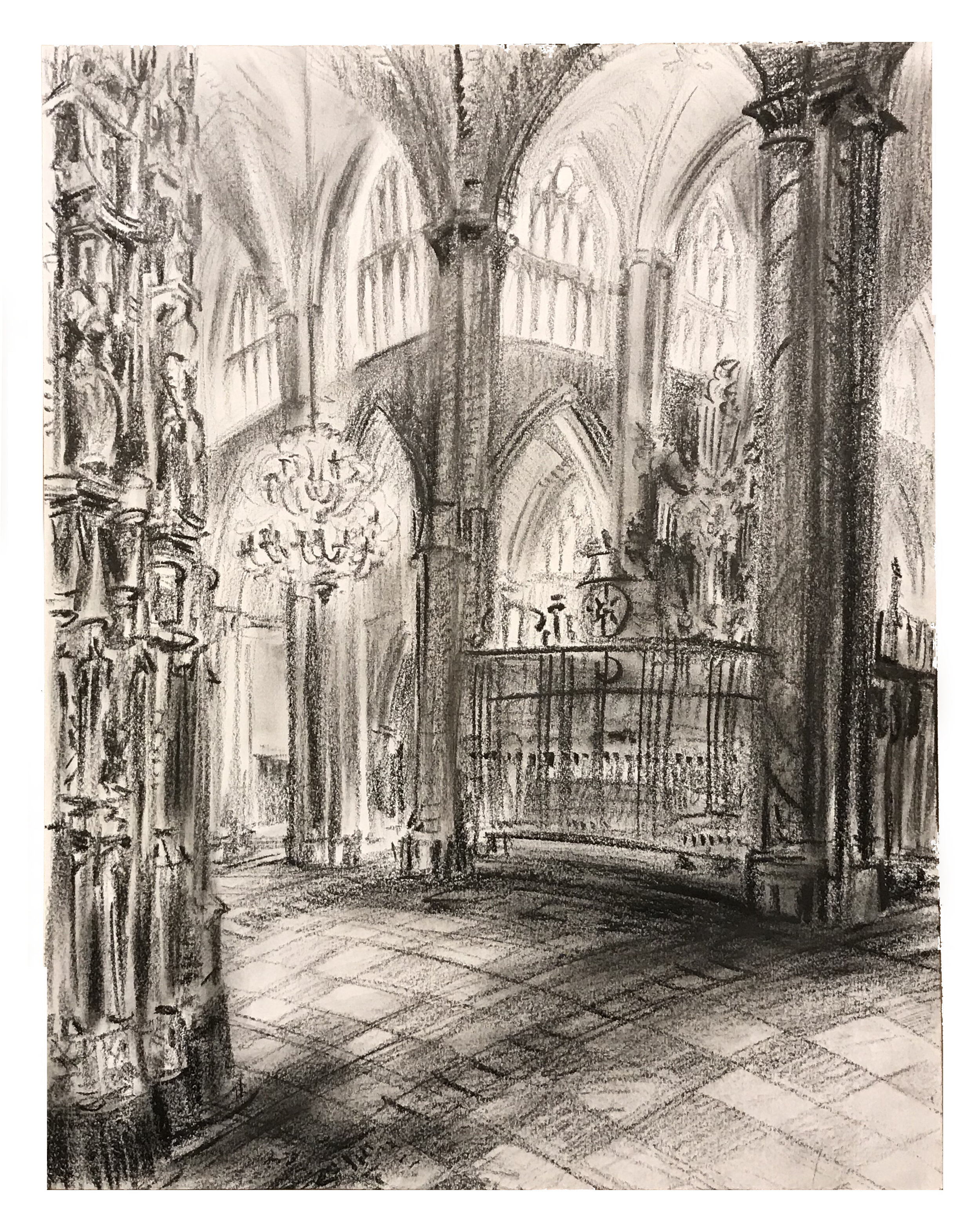 Steve Zolin   Cathedral, Toledo   2014  China marker on paper  Signed by the artist, lower left, and titled,  verso   Sheet: 14 x 11 inches