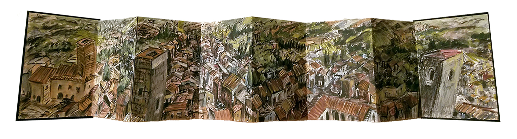 Steve Zolin   San Gimignano   2016  China marker and oil paint in accordion sketchbook  Signed and dated by the artist in pencil,  verso   7 x 38 7/8 inches