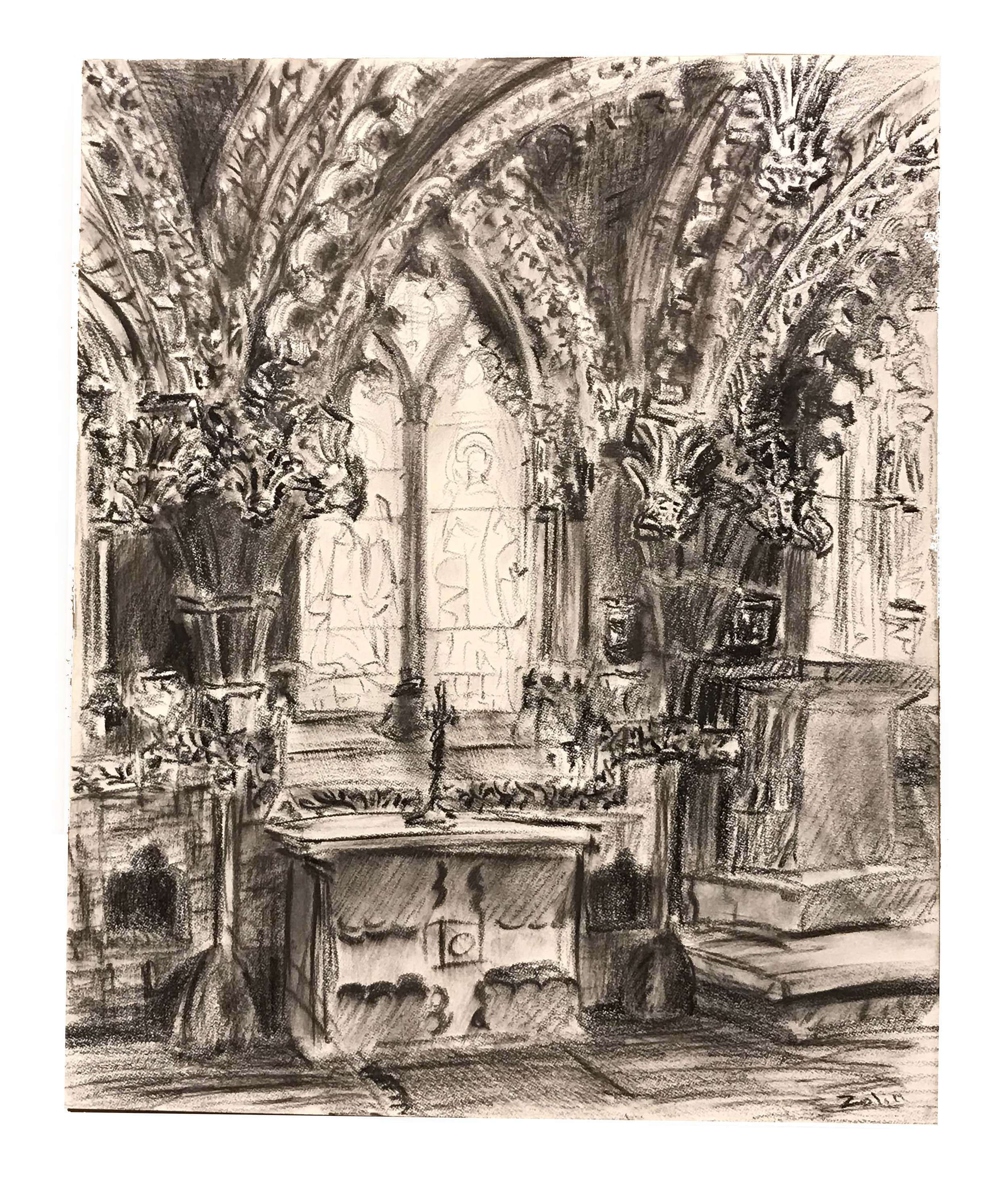 Steve Zolin   Roslyn Chapel   2010  China marker on paper  Signed by the artist, lower right, and titled,  verso   Sheet: 14 x 11 inches