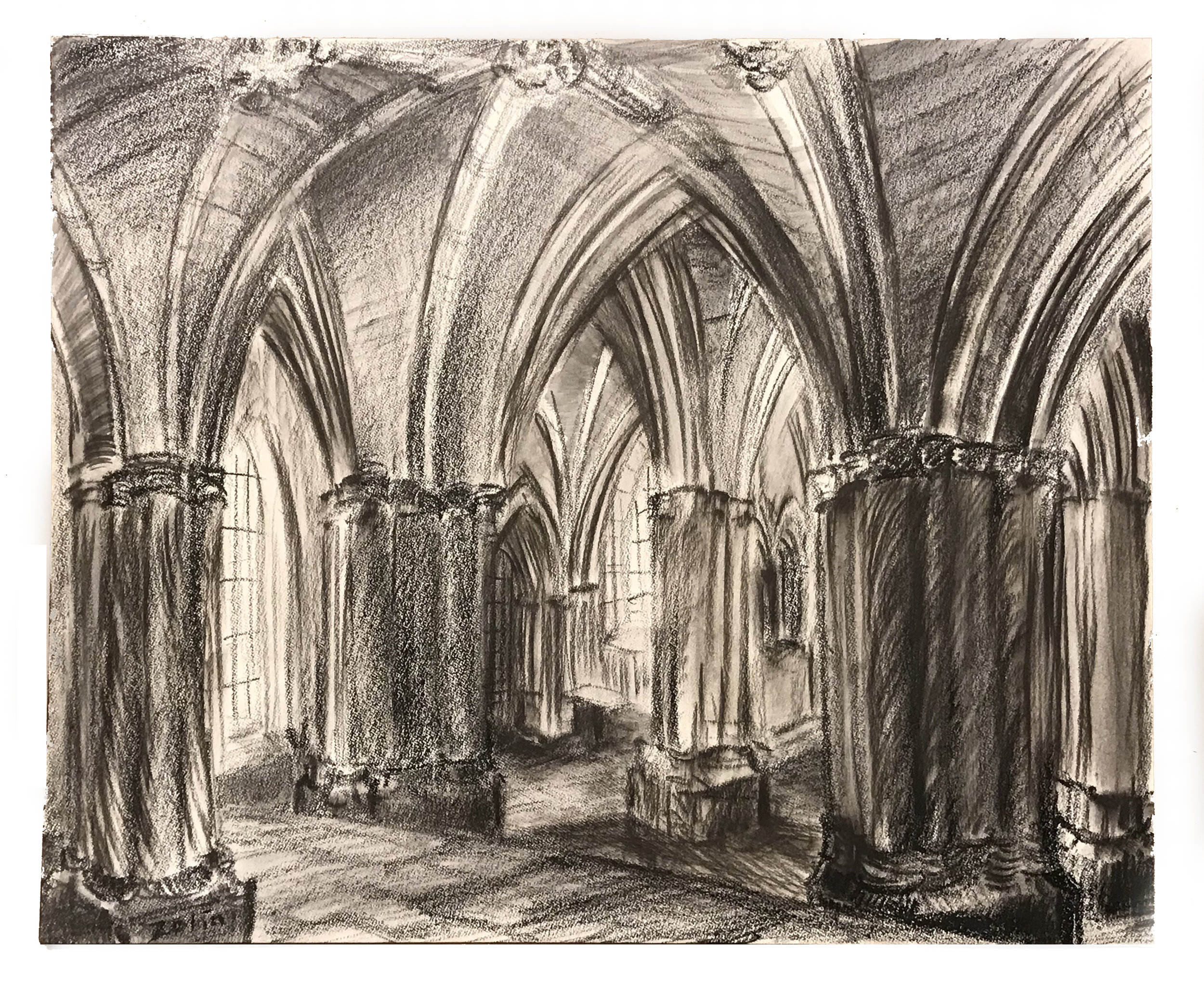 Steve Zolin   Glasgow Cathedral   2010  China marker on paper  Signed by the artist, lower left, and titled,  verso   Sheet: 11 x 14 inches