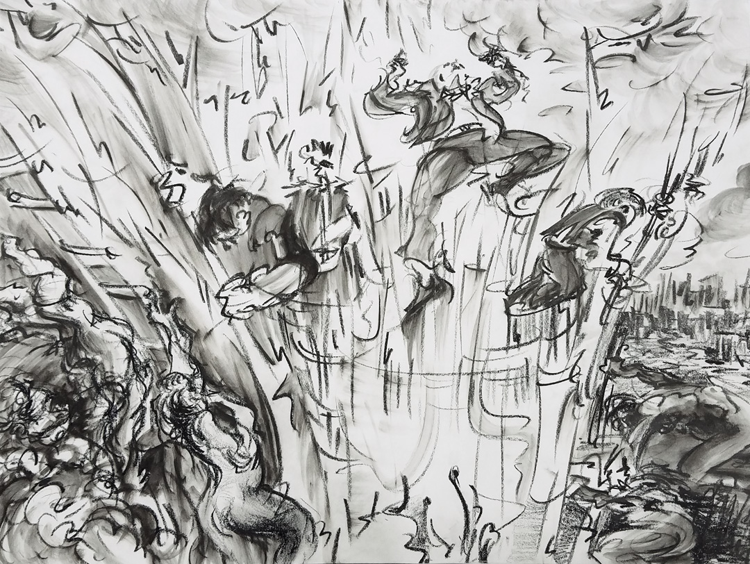 Steve Zolin   Catharsis   2017  China marker on paper  Sheet: 18 x 24 inches