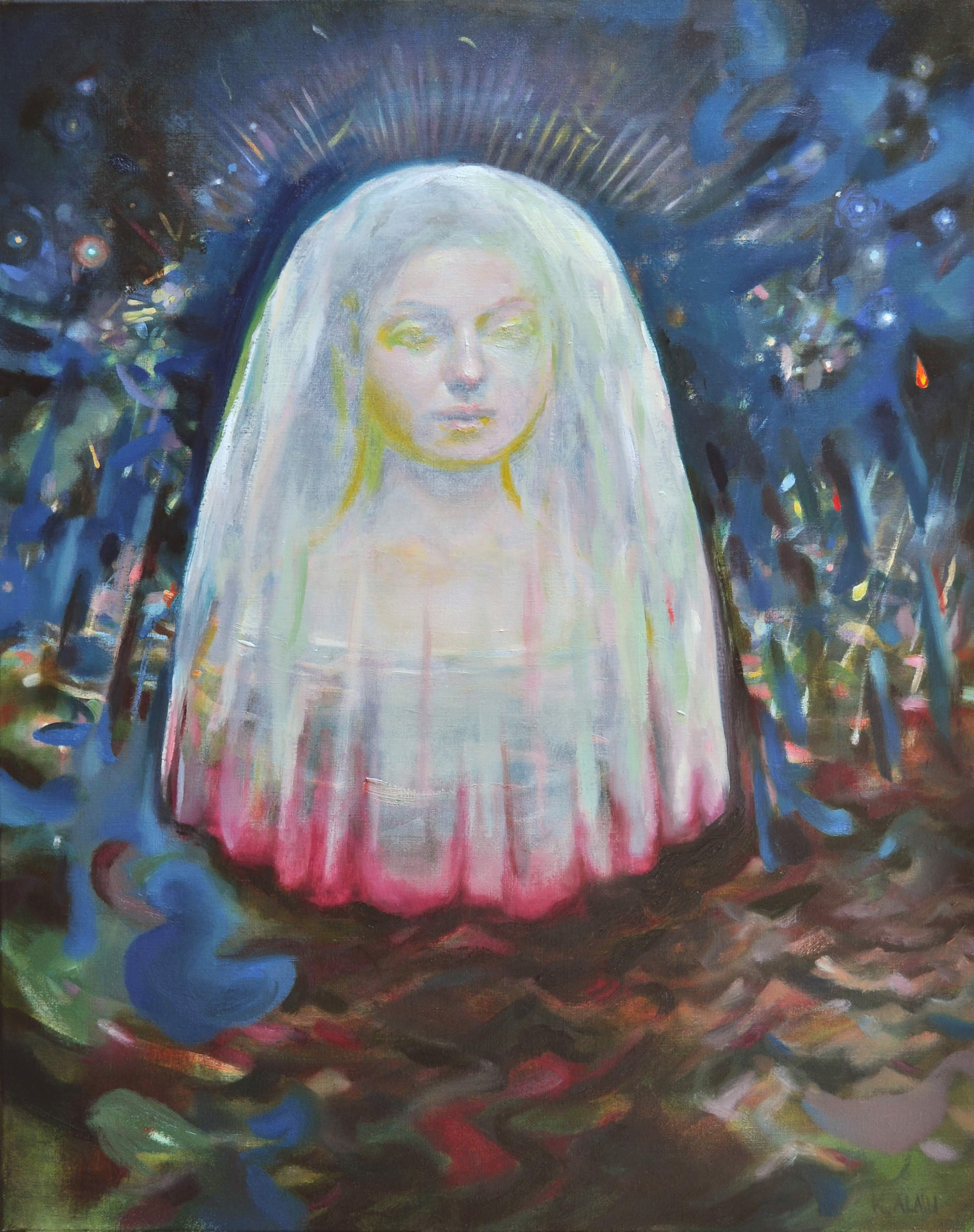 Katelyn Alain   Awakening in the Depths   2019  Oil on canvas  Signed and titled by the artist,  verso   30 x 24 inches