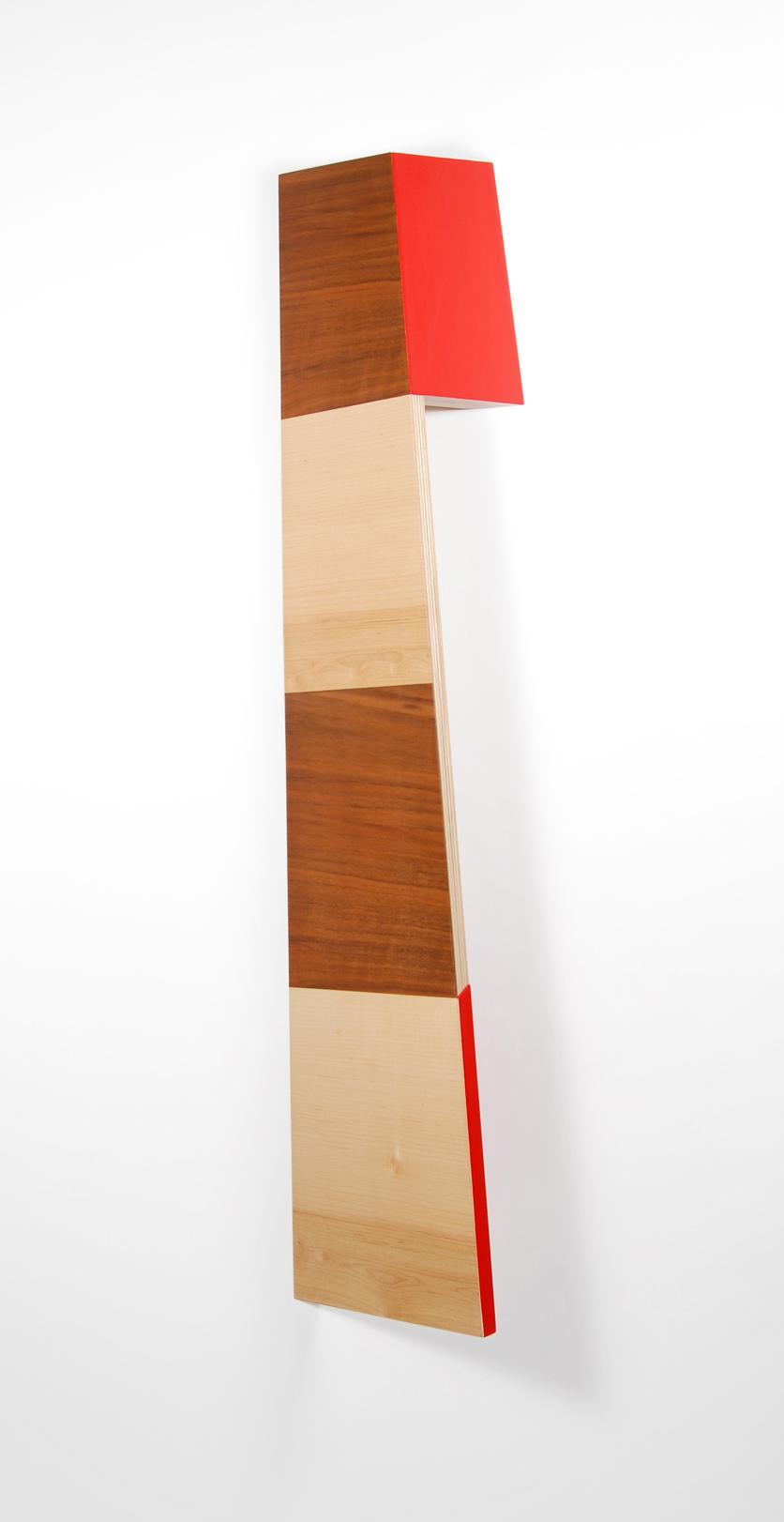 Richard Bottwin   Right Angle.1   2018  Maple veneer, walnut veneer and acrylic paint on birch plywood  34 x 9 x 6 inches