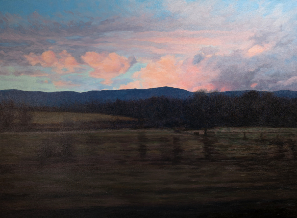 J. Krause Chapeau   Days End   2014-15  Oil on canvas  Signed and dated by the artist,  verso   34 x 46 inches
