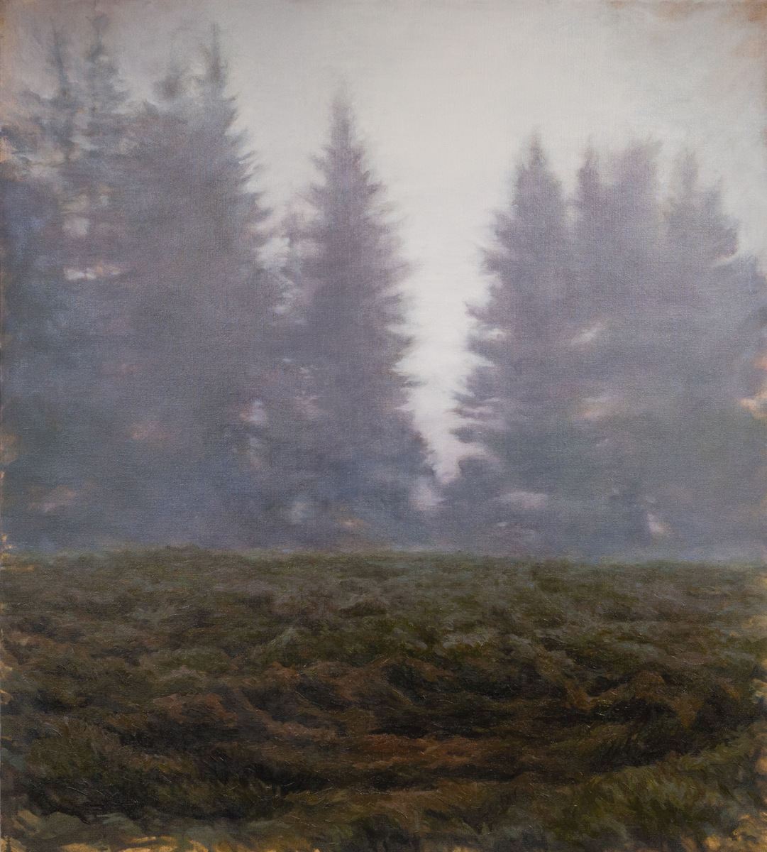 J. Krause Chapeau   Beyond the Conifers   2017`  Oil on linen  Signed and dated by the artist,  verso   40 x 36 inches