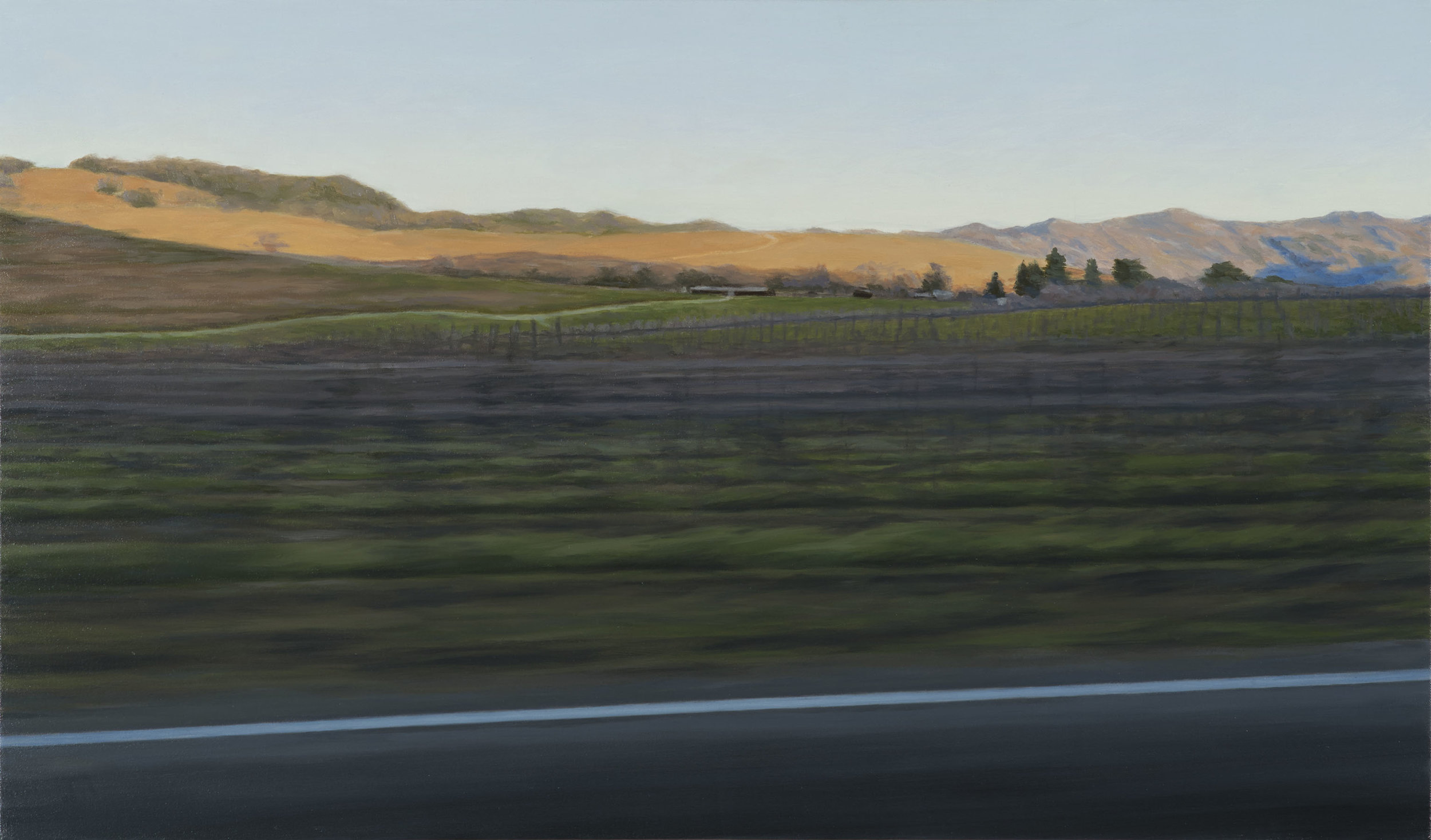 J. Krause Chapeau   Sonoma Sundown   2013  Oil on canvas  Signed and dated by the artist,  verso   26 x 44 inches