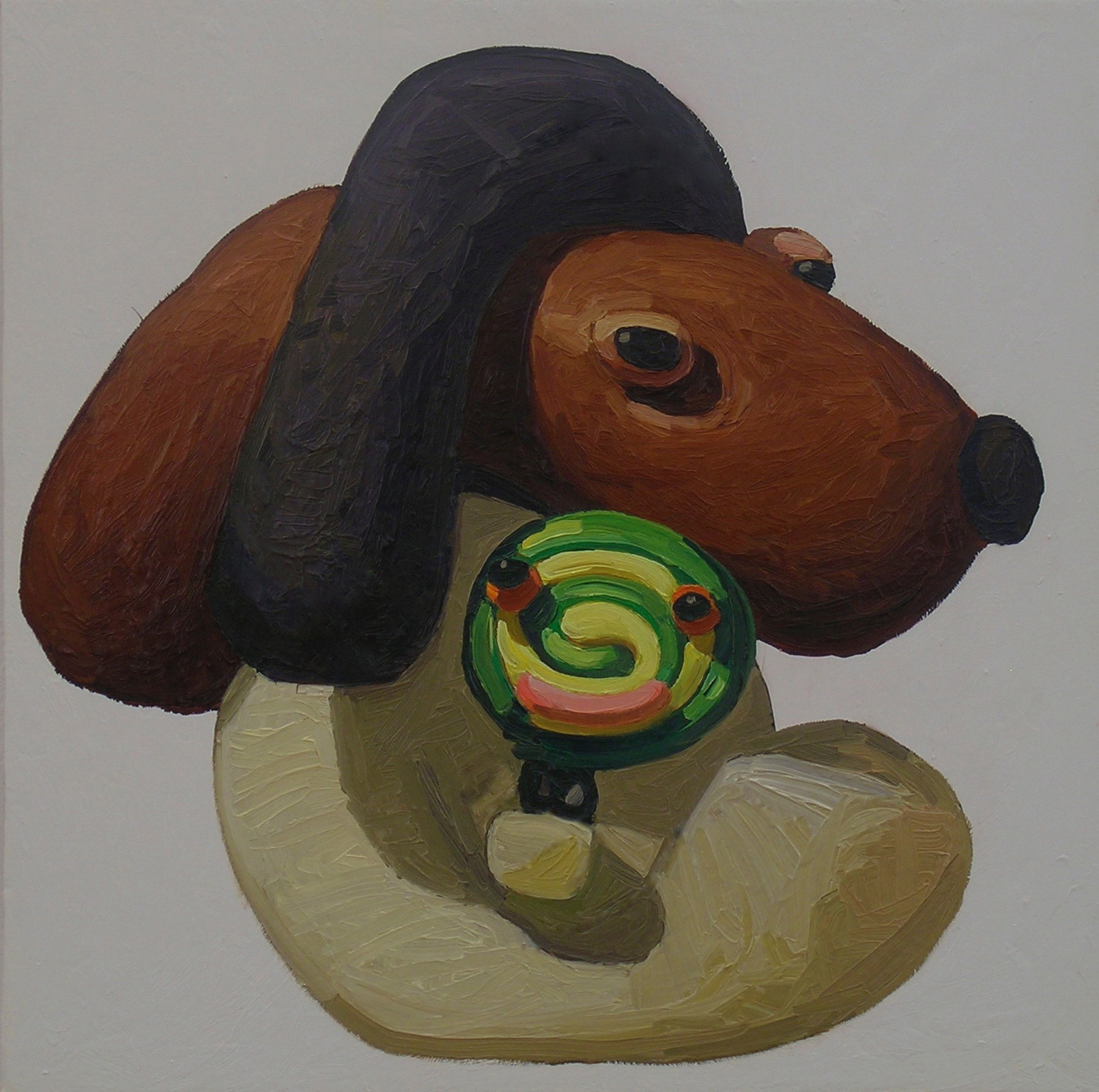 Peter Opheim   Black Brown Lolly   2013  Oil on canvas  Signed, titled, and dated by the artist,  verso   22 x 22 inches