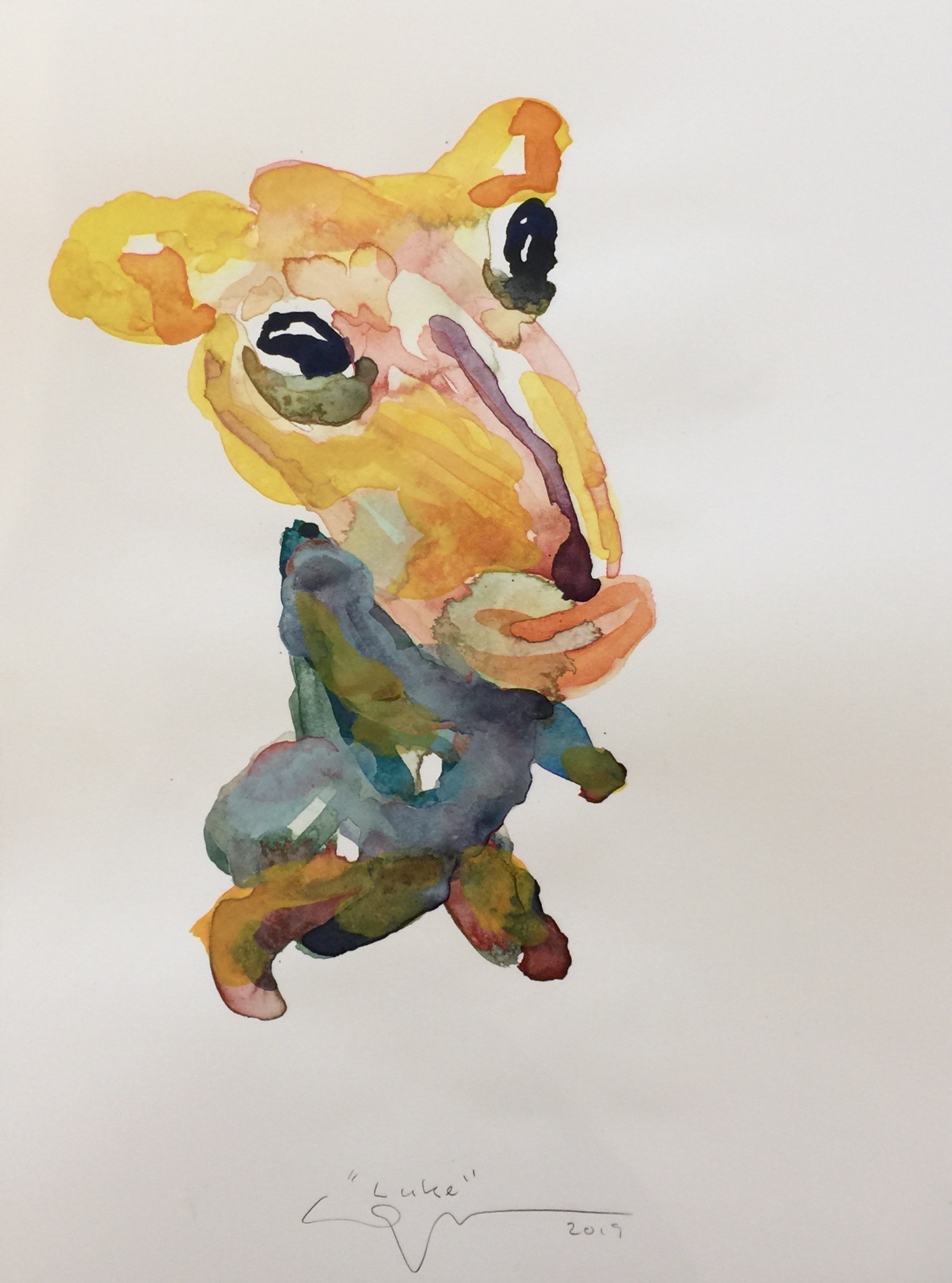 Peter Opheim   Luke   2019  Watercolor on paper  Signed, titled, and dated by the artist in pencil  Sheet: 16 x 12 inches  Framed: 17 x 13 inches
