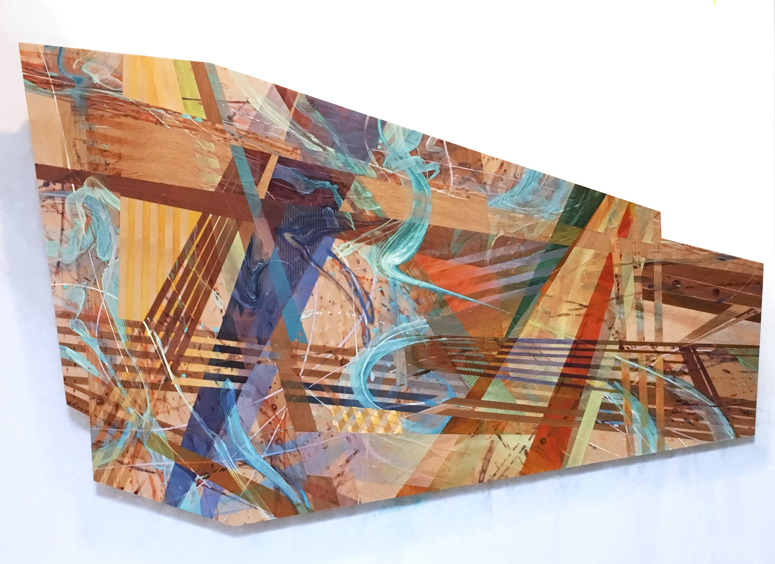 Ben Boothby     Pool Shimmers and Dry Heat    2018  Oil and acrylic on veneer inlay  Signed by the artist,  verso   53 x 80 x 5 inches