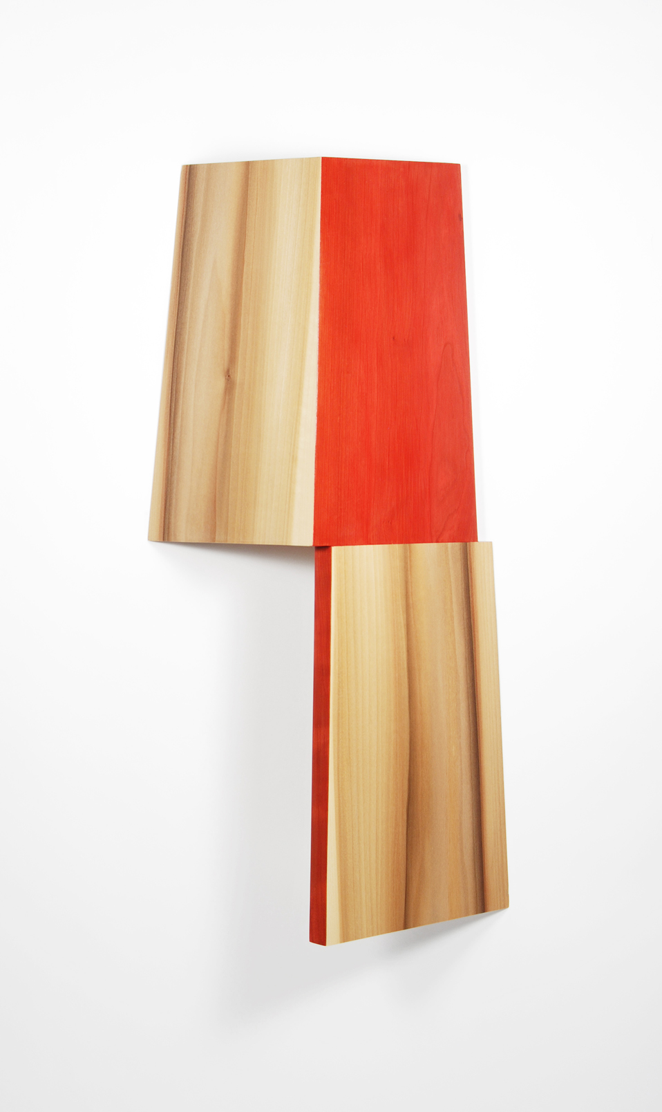Richard Bottwin     Right Angle.3    2018  Cherry wood, poplar, and acrylic paint  Signed by the artist,  verso   24 x 11.5 x 6 inches