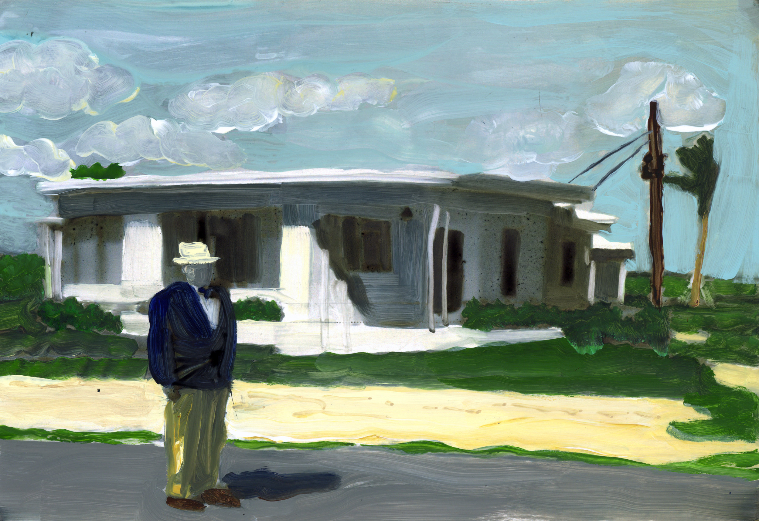 Christy Powers     grandpa in front of his new Miami house    2017  Ink, gouache, watercolor, and acrylic on Yupo  Signed and dated by the artist,  verso   Image/sheet: 11 x 14 inches  Framed: 12 x 15 inches