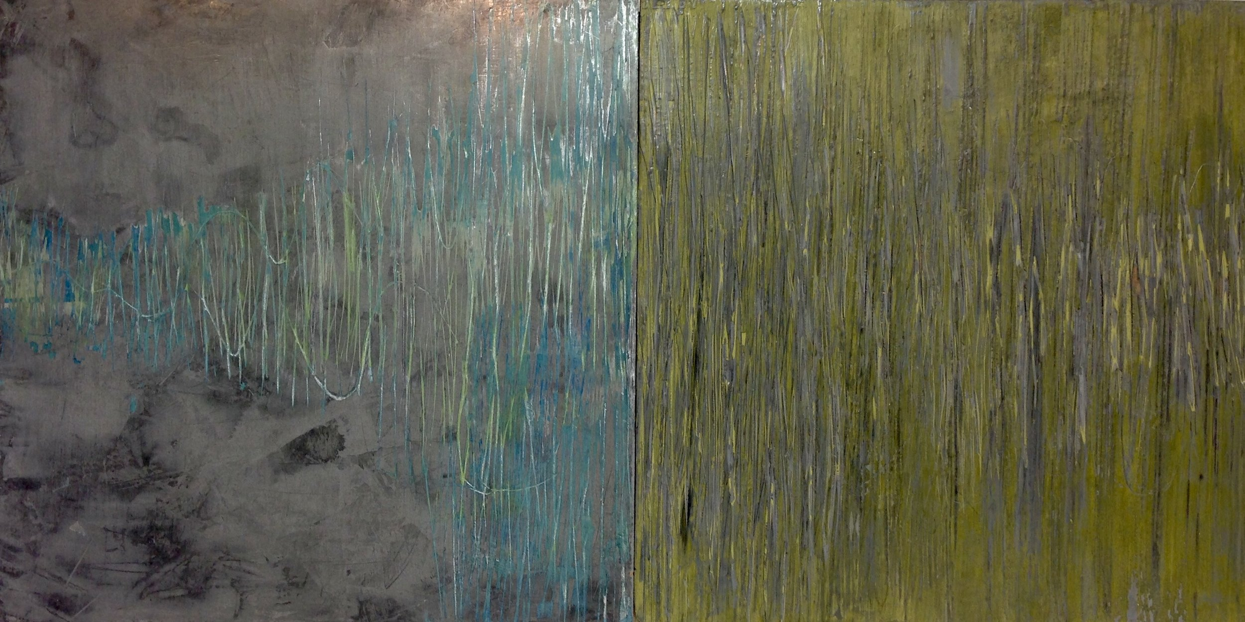 Rebecca Spivack     Diptych 4    2017  Integrated colored plaster and  Prismacolor pencil construction  Signed, titled, and dated by the artist,  verso   12 x 24 inches