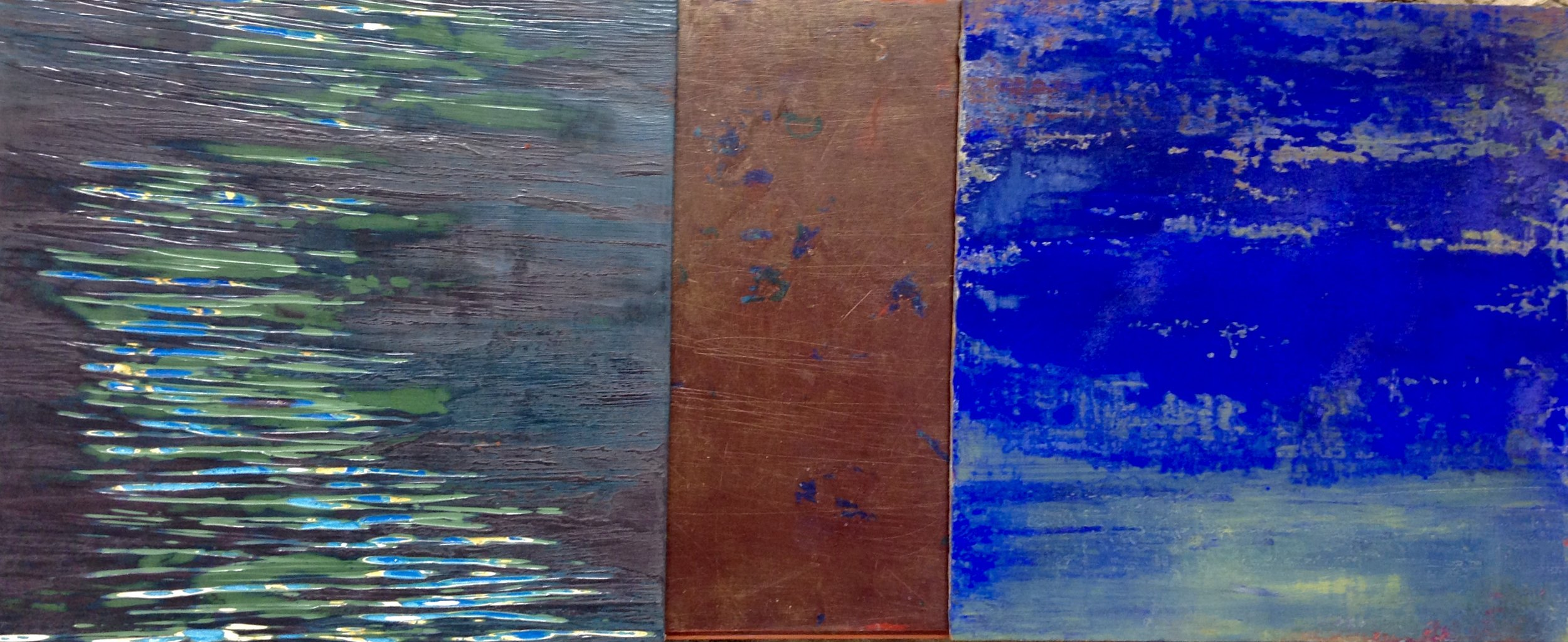 Rebecca Spivack     Triptych 3    2018  Integrated colored plaster and pigment construction  Signed and dated by the artist,  verso   12 x 29 inches