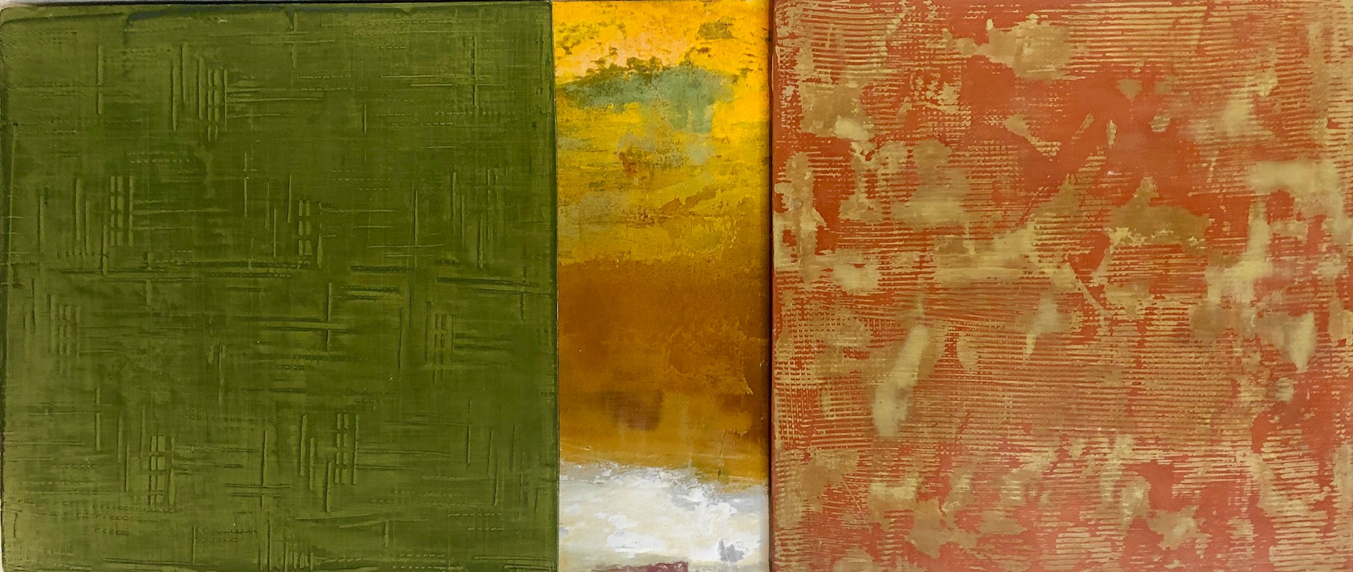 Rebecca Spivack   Triptych 4   2017  Integrated colored plaster construction  Signed, titled, dated, and branded by the artist,  verso   12 x 28 1/4 inches