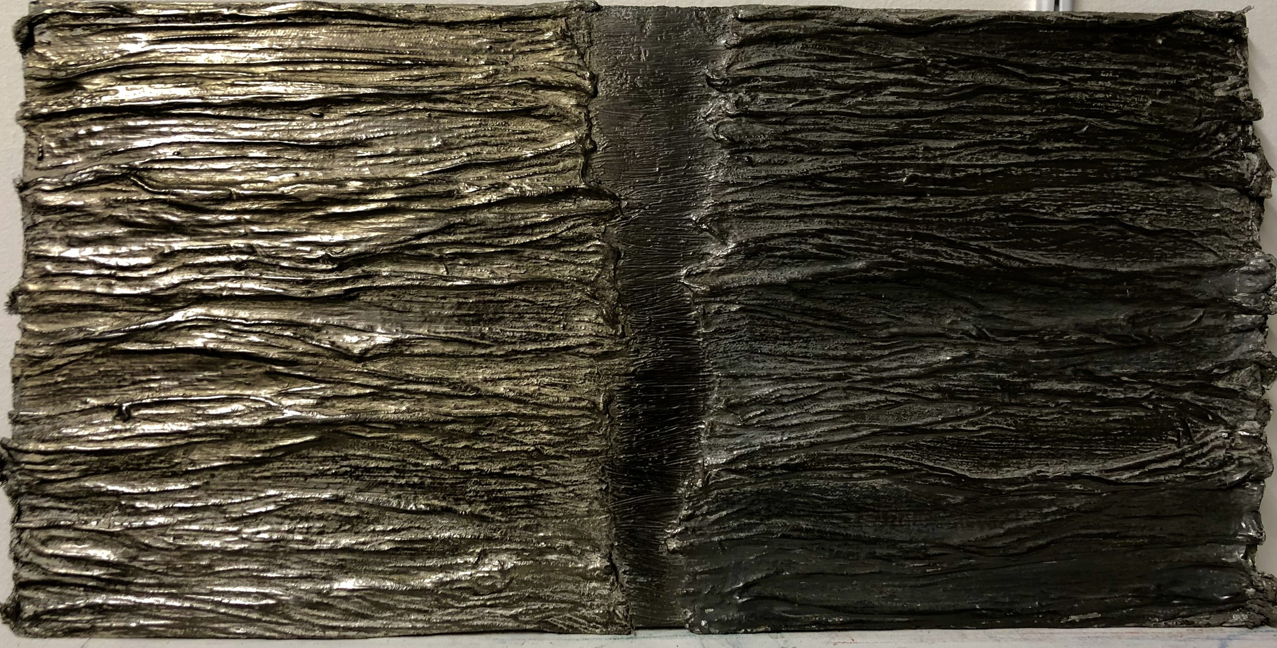 Rebecca Spivack   Untitled 2   2016  Mixed media construction (integrated colored plaster, graphite, cloth)  12 x 24 1/2 inches