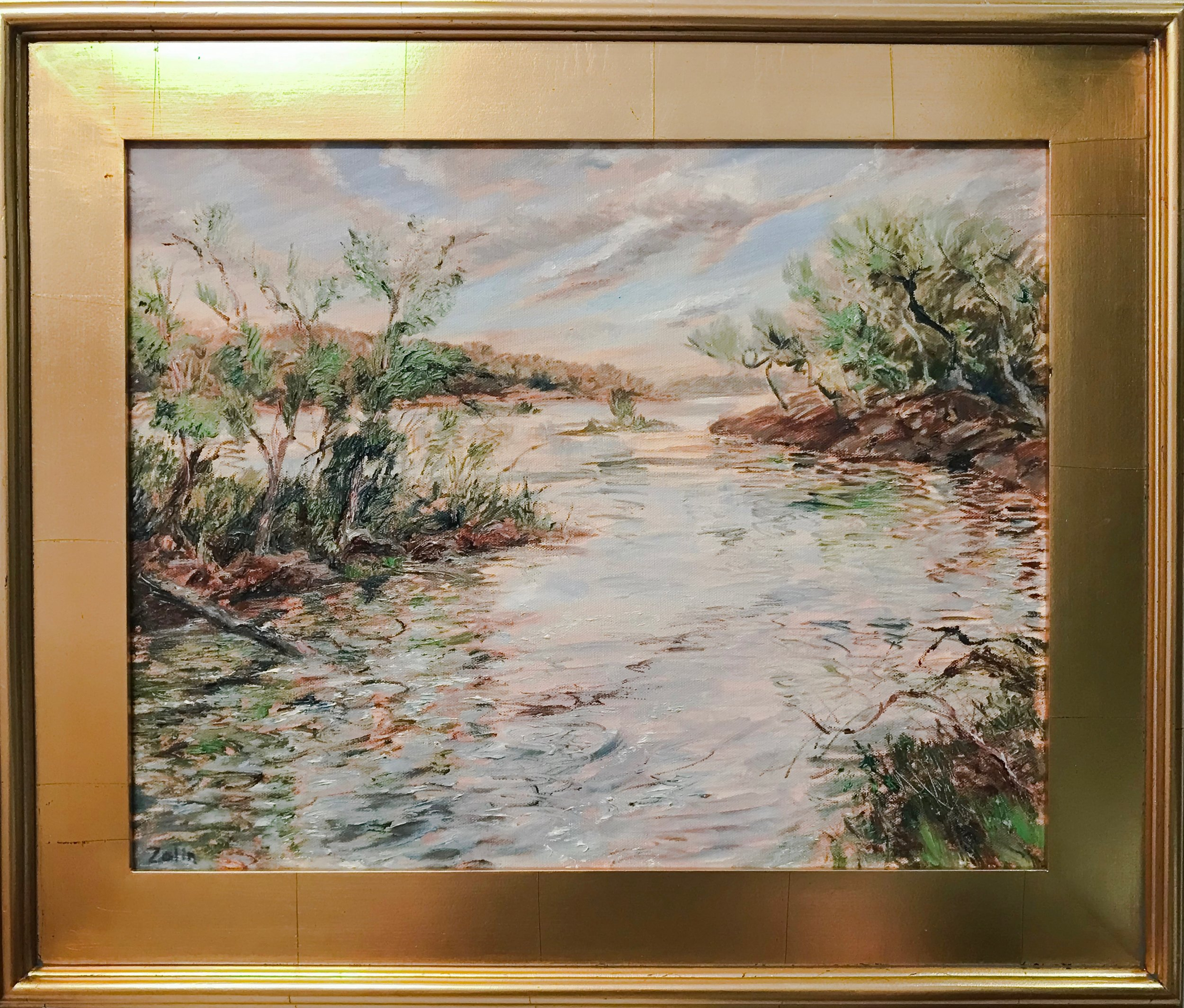 Steve Zolin   Pattaconk Lake   2018  Oil on canvas  Signed by the artist, lower left  16 x 20 inches  Framed: 22 x 26 inches