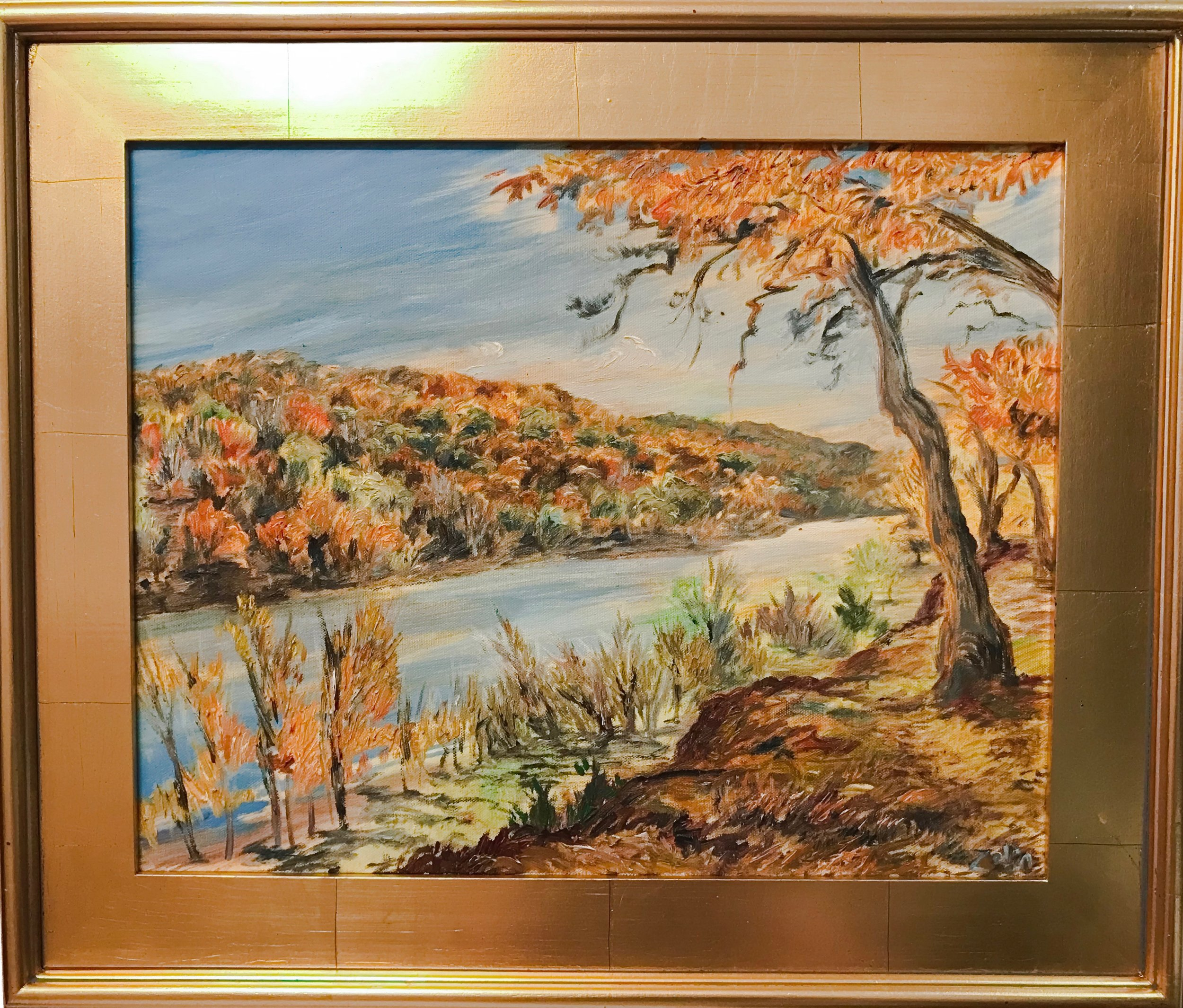 Steve Zolin   Connecticut River in Autumn 2   2017  Oil on canvas  Signed by the artist, lower right  16 x 20 inches  Framed: 22 x 26 inches