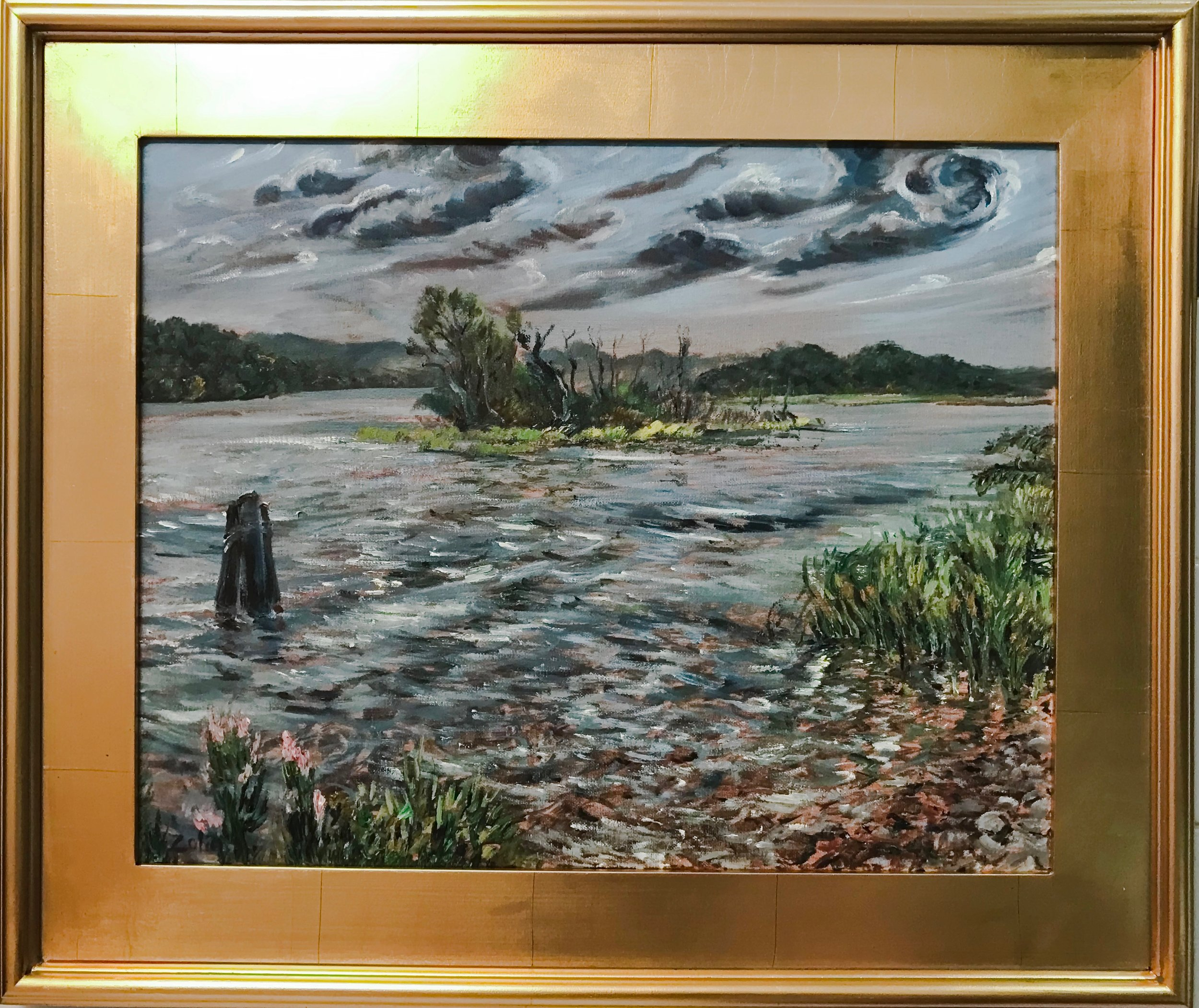 Steve Zolin   Salmon River, CT   2018  Oil on canvas  Signed by the artist, lower left  16 x 20 inches  Framed: 22 x 26 inches