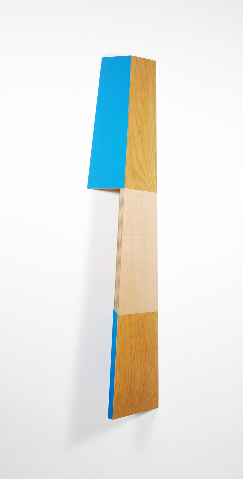 Richard Bottwin   Right Angle.2   2018  Maple veneer, white oak veneer, and acrylic paint on birch plywood  34 x 8.5 x 5 inches